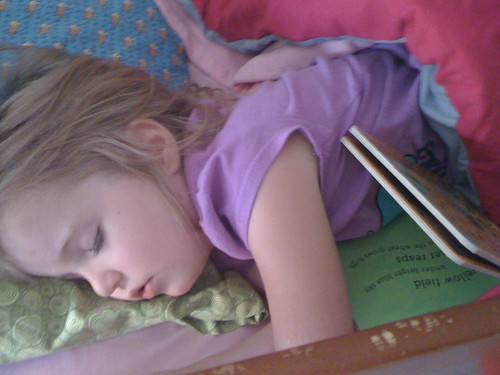 Selah asleep with her book