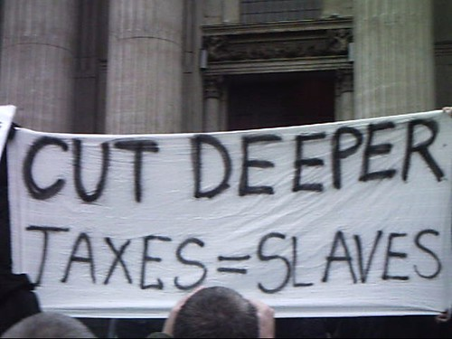Our banner on the steps of St Pauls at #OccupyLSX