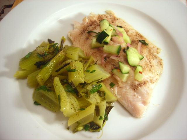Baked rainbow trout, with quick pickled cucumbers; celery braised in French butter, wine and herbs