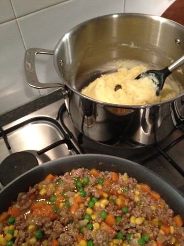 shepherd's pie, in progress