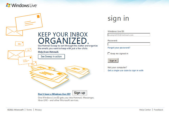 Sweep, New email product built into Hotmail