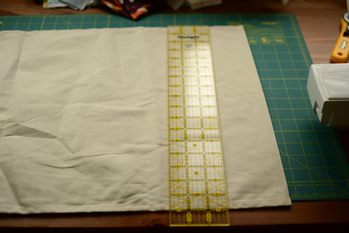cut your tea towel to size (17 x 24 inches)