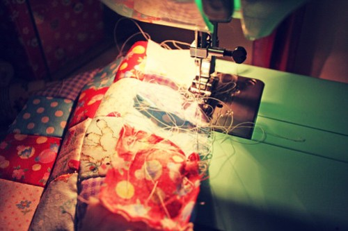 sewing messily