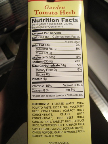 Nutrition Facts Pacific Natural Foods Garden Tomato Herb
