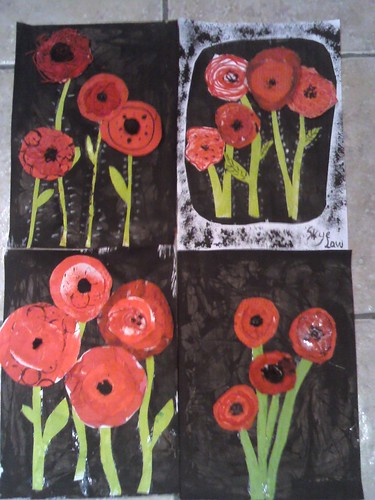 Mixed media poppies