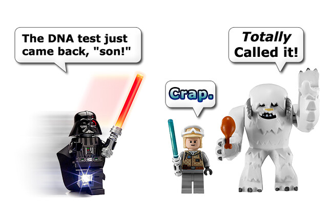 Lego Darth Vader rushes to tell Luke the 'good news.'  DNA test just cam back, son!