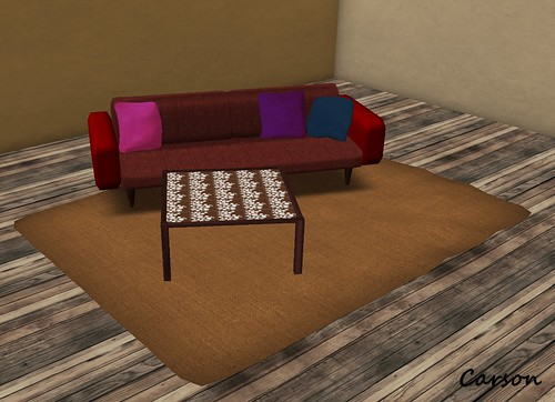 MM (Home) - Modern Red Sofa, Simple Coffee Table, Autumn Pallete Rug