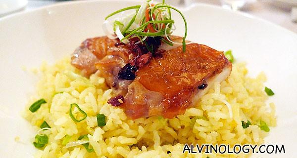 Szechuan chicken with yellow rice