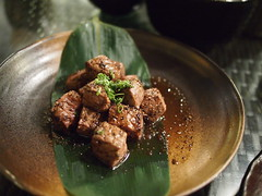 Beef fillet cubes, Raku Japanese Restaurant & Bar, Greenwood Avenue