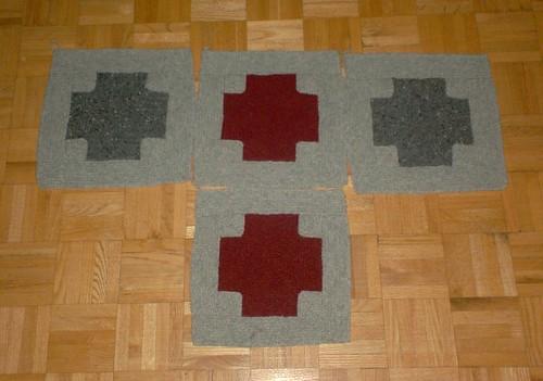 Mitered Crosses Blanket, 4 squares