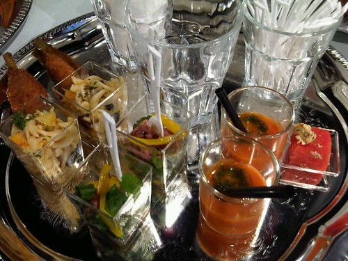 Savoury items on butler tray