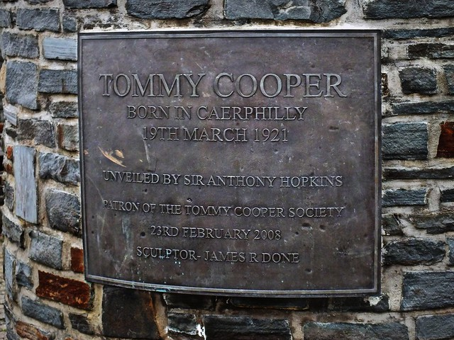 Tommy Cooper statue near Caerphilly Castle