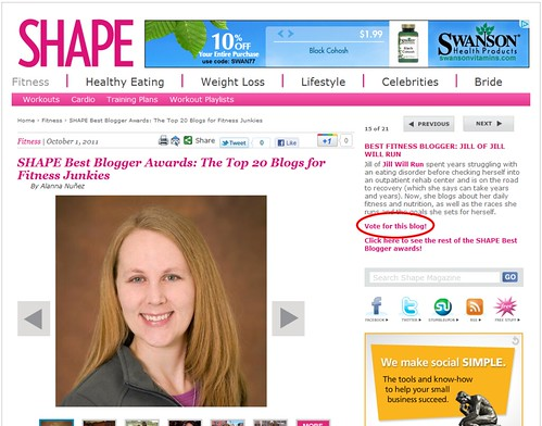 Best Fitness Blogger  - Jill of Jill Will Run   Shape Magazine