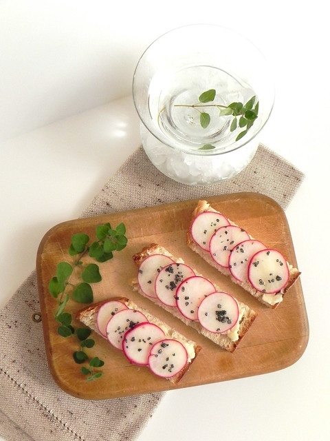 Insta-Party Radish and Butter Bites with Gin Martinis