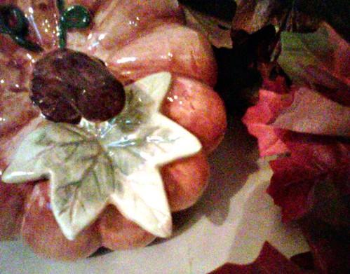 pumpkins, ceramic, garden ridge, fall, decor, mantel