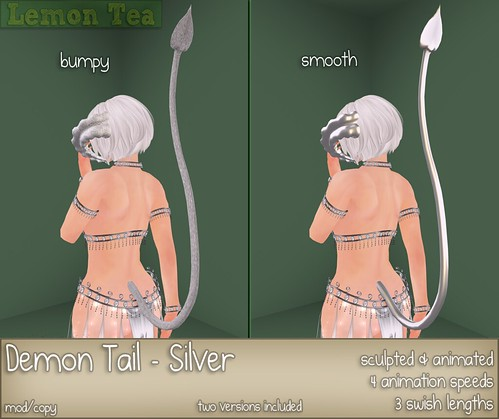 New Release: Sculpted & animated demon tail (Silver)