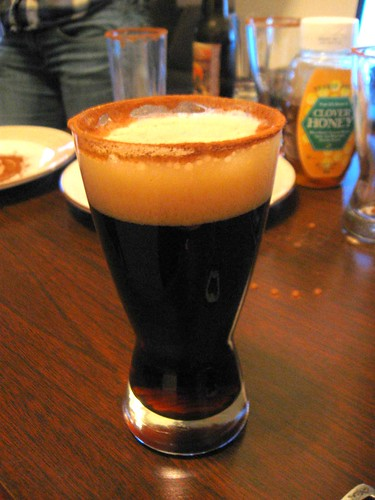 Pumpkin beer w/ a honey cinnamon rim