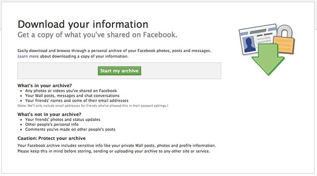 Facebook archive download page
