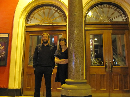 Kath and Steve outside the Leeds Grand Theatre