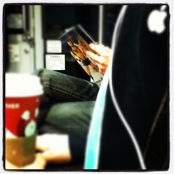 Oh you know just another morning in SF- Starbucks, Apple, and some light S&M reading on the train.