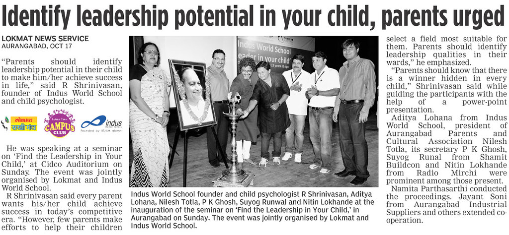 IWS Aurangabad - Find the leader in your child : Public seminar - lighting the lamp