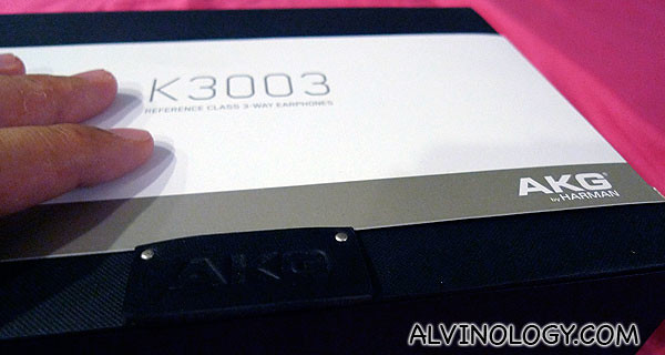 The AKG K3003 headphones come in a sleek black box like this