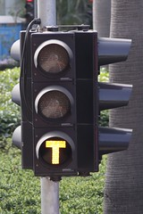 Go signal on a traffic light on the Hong Kong Tramways