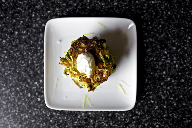 zucchini fritters, lemon sour cream