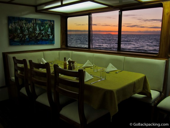 Dining room on Eden Yacht