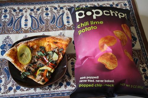 leftover pizza, pop chips chili lime potato