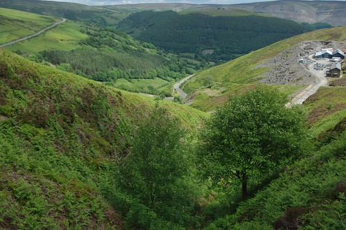 200110619-35_Clogau Quarry - Horseshoe Pass Road + Worlds End in the distance by gary.hadden