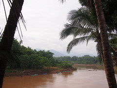 Riverside seating, watching monks get ferried across the river, Arthouse Cafe, Luang Prabang