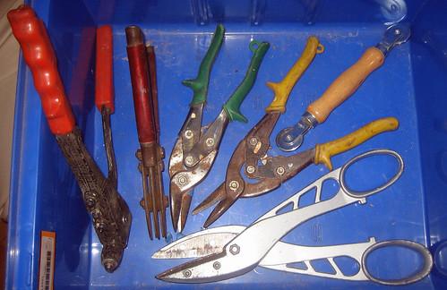 20110730 - yard sale booty - $15-$20 of tools, mostly metal working, rivet gun, in 1 of 4 stacking bins ($5) - IMG_3404