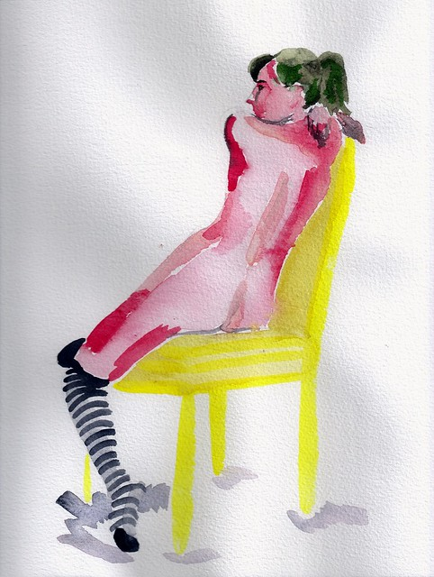 Watercolor of a nude woman wearing striped stockings and sitting in a yellow chair