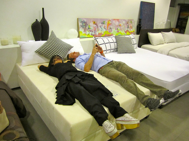 Jer and I trying mattresses