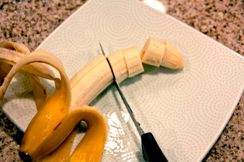 chop your frozen bananas