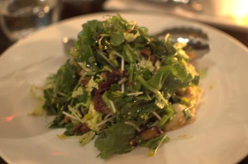 Crisp pork belly & sea scallop salad