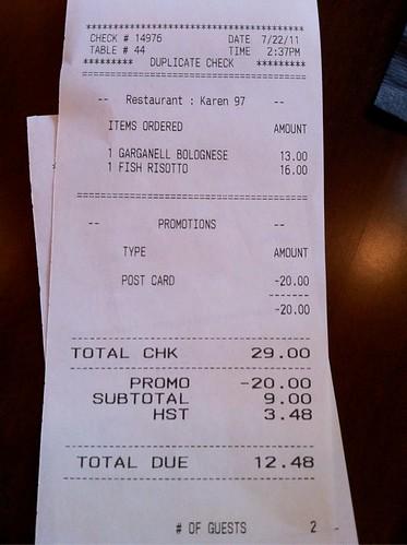 Frankies receipt