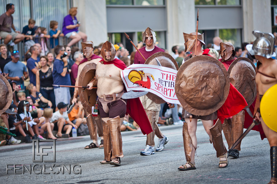 300 Retired Spartans at the 25th Anniversary Dragon Con Parade 2011 on Peachtree Street in Downtown Atlanta