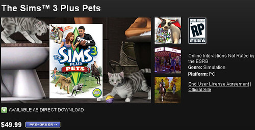 The Sims 3: Plus Pets Pre-Orders are Now Available via GameStop and Origin!