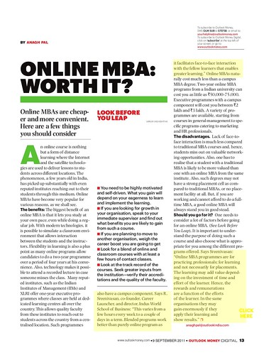 Outlook Money - Online MBA - Sreeni's interview by Vasu..
