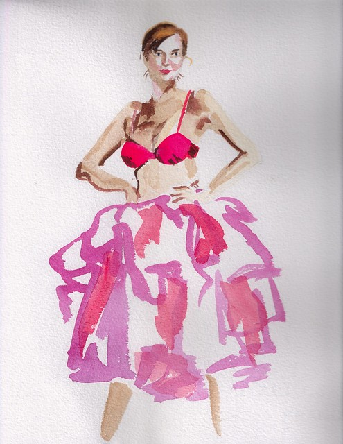 Watercolor of woman in red bra and fluffy pink tutu