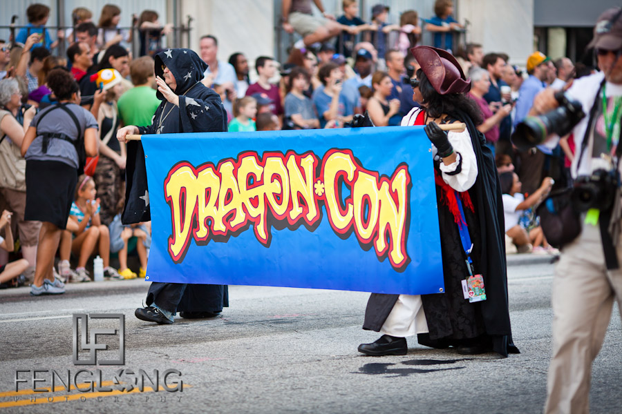 DragonCon Sign at the 25th Anniversary Dragon Con Parade 2011 on Peachtree Street in Downtown Atlanta