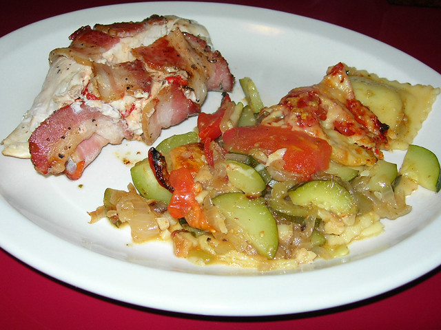 Bacon-Wrapped Chicken Breast Stuffed with Roasted Red Pepper & Chevre & Ravioli/Veggie Layered Casserole