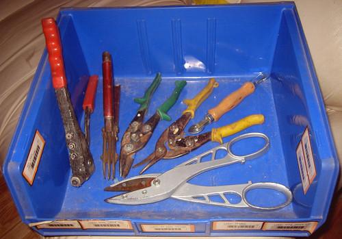 20110730 - yard sale booty - $15-$20 of tools, mostly metal working, rivet gun, in 1 of 4 stacking bins ($5) - IMG_3405