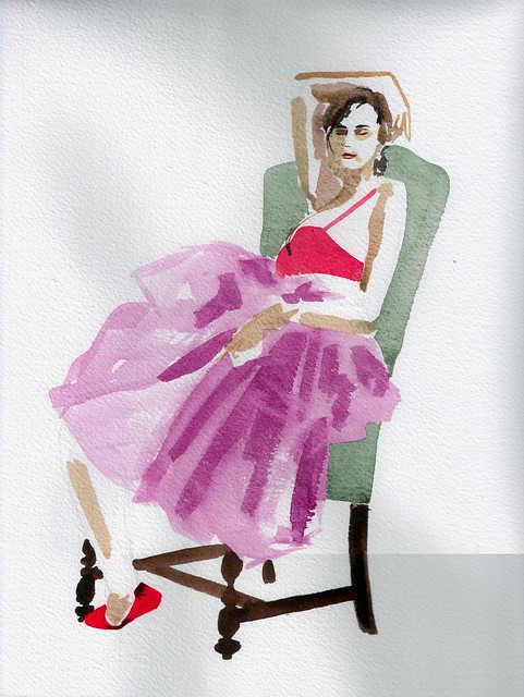 Watercolor of seated woman in fluffy pink tutu