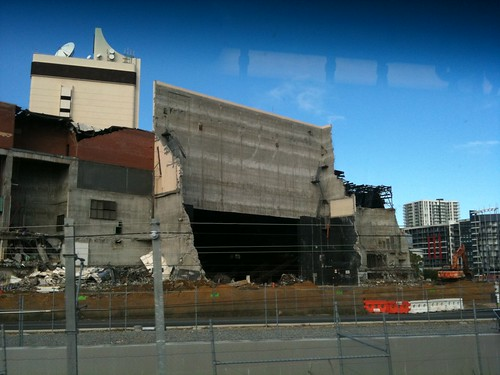 The proscenium arch of the Perth Entertainment Centre exposed during its demolition