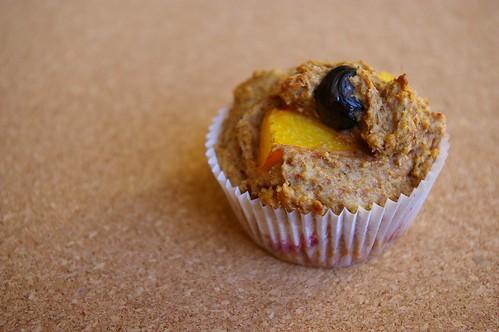 Peach-blueberry muffin