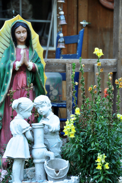 Cottage Blooms amid the Statues