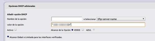 Configuración del DHCP server